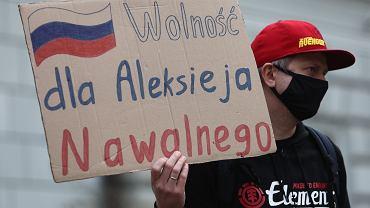 Manifestacja 'Uwolnić Nawalnego' w Krakowie