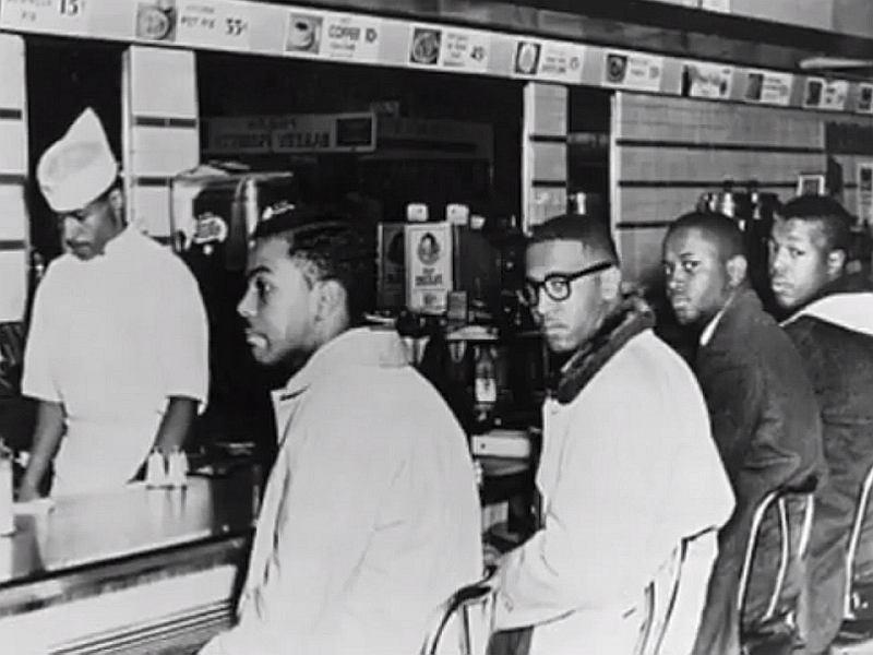 Joseph McNeil, Jibreel Khazan (Ezell Blair), Franklin McCain and David Richond, czyli 'czwórka z Greensboro' - uczestnicy siedzącego protestu, luty-lipiec 1960 r.