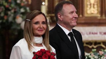 Joanna i Jacek Kurscy wzięli ślub w Łagiewnikach. W kościele m.in. Jarosław Kaczyński. Wypraszano modlących się