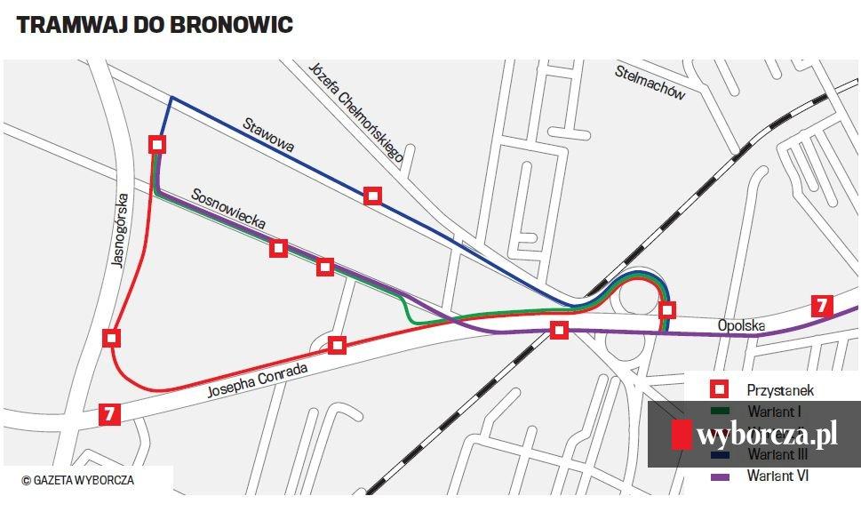 Cztery Warianty Przebiegu Linii Tramwajowej Do Bronowic Mapa