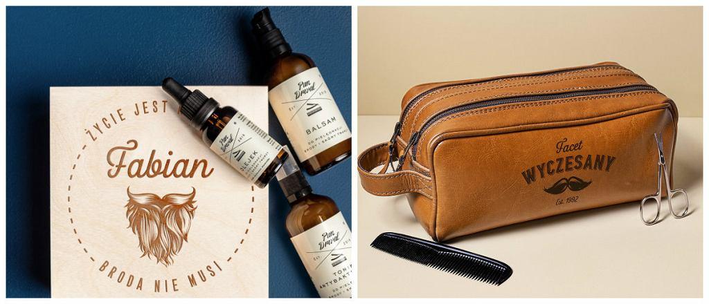 Kosmetyki do brody, kosmetyczka ze skóry naturalnej