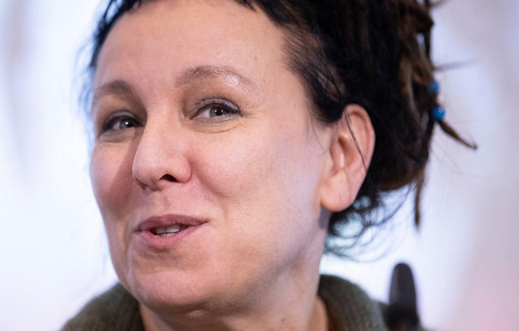 10.10.2019, Bielefeld, Niemcy, Olga Tokarczuk na konferencji prasowej po zdobyciu Nagrody Nobla w dziedzinie literatury.
