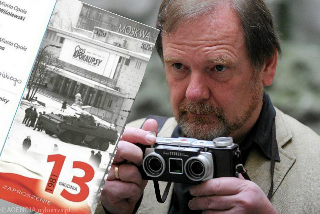 Chris Niedenthal i fragment zaproszenia z jego zdjęciem 'Czas Apokalipsy'