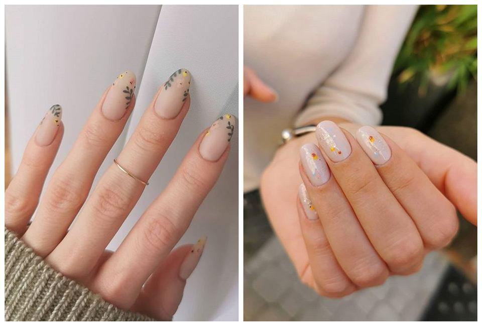 manicure w kwiaty