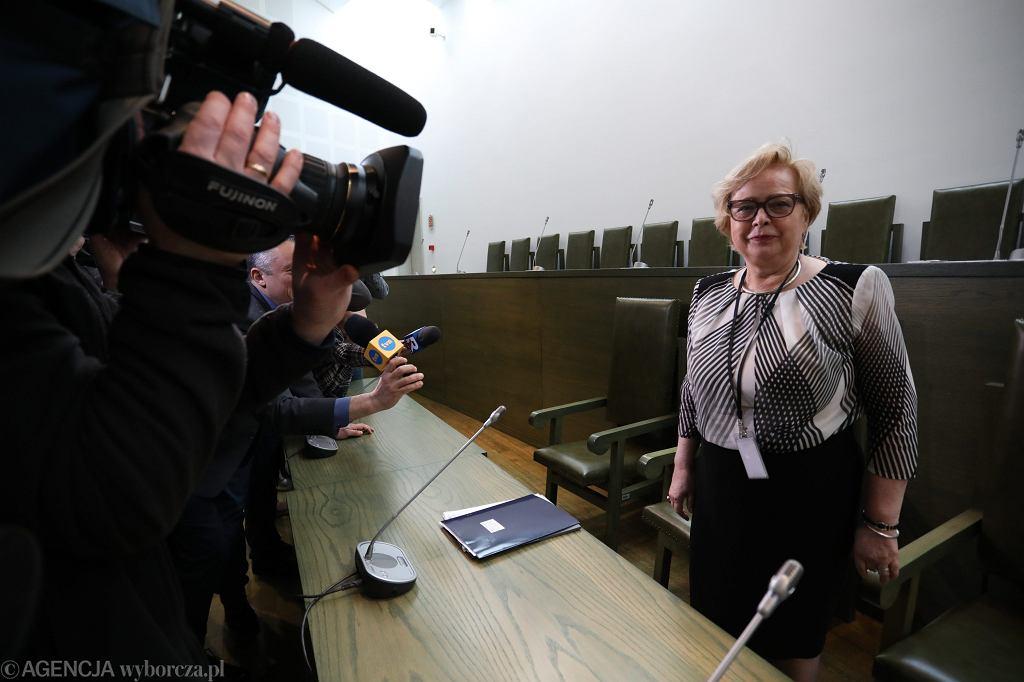 Pierwsza Prezes SN Małgorzata Gersdorf podczas pierwszego, roboczego Zgromadzenia sędziów Sądu Najwyższego po wejściu w życie Ustawy o SN i KRS. Warszawa, 3 kwietnia 2018