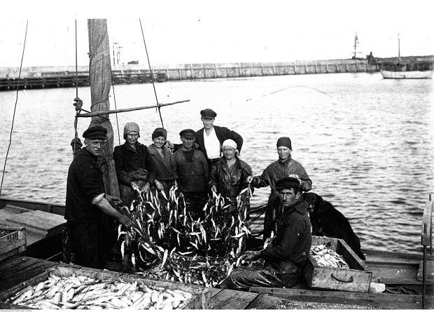 Gdy w 1919 r. odrodzona Polska odzyskała dostęp do morza, rybołówstwo trzeba było tworzyć od podstaw. W latach 30. działało już kilka rodzimych przedsiębiorstw połowów dalekomorskich. Na zdjęciu: kuter rybacki w porcie w Jastarni po powrocie z rejsu, 1937 r.