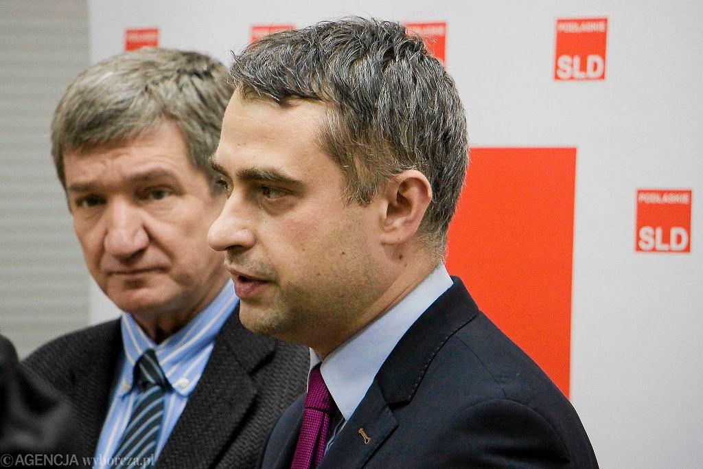Były wicemarszałek Sejmu Jerzy Wenderlich i sekretarz generalny SLD Krzysztof Gawkowski ma spotkaniu z podlaskimi działaczami SLD