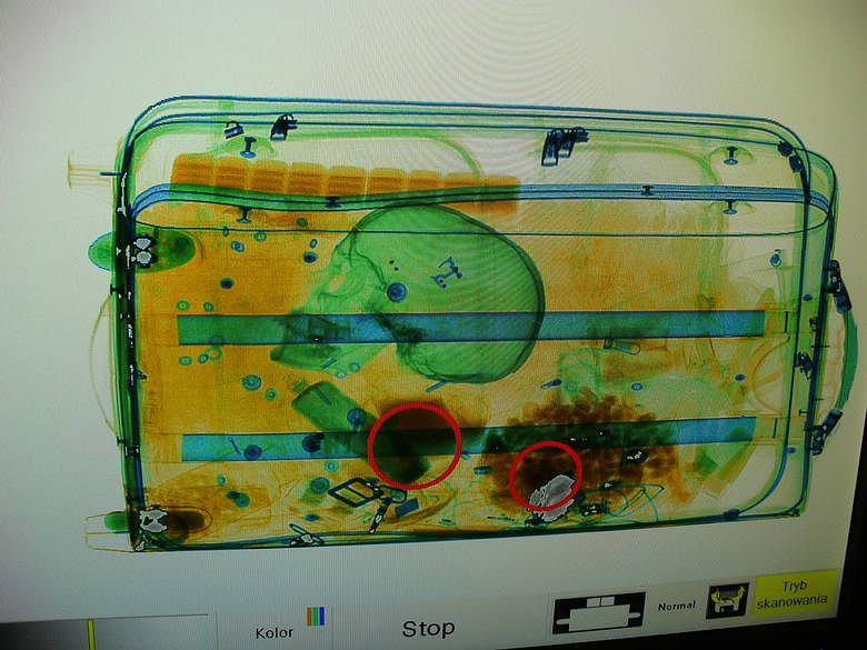 Czaszka w bagażu na lotnisku w Goleniowie