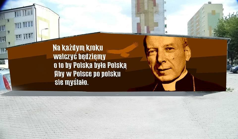 Projekt muralu z kard. Stefanem Wyszyńskim w Koninie