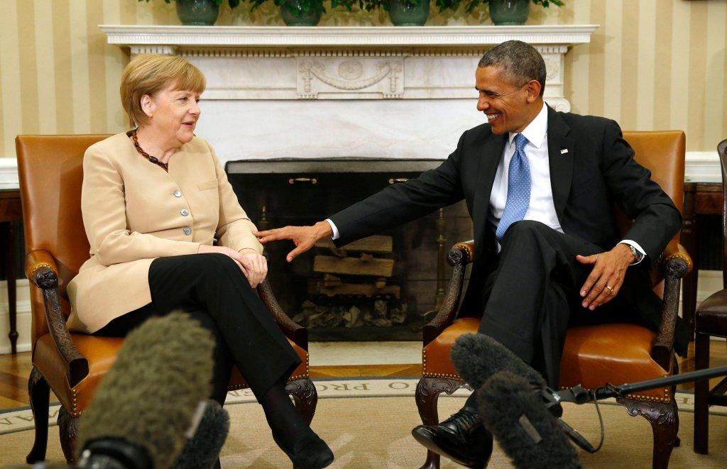 Kanclerz Angela Merkel i prezydent USA Barack Obama podczas spotkania w Białym Domu