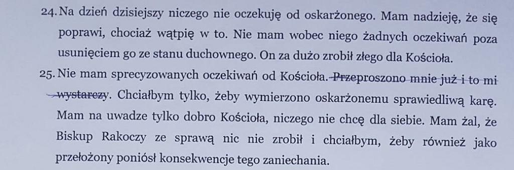 Fragment wstępnej wersji protokołu z przesłuchania Jana Szymika
