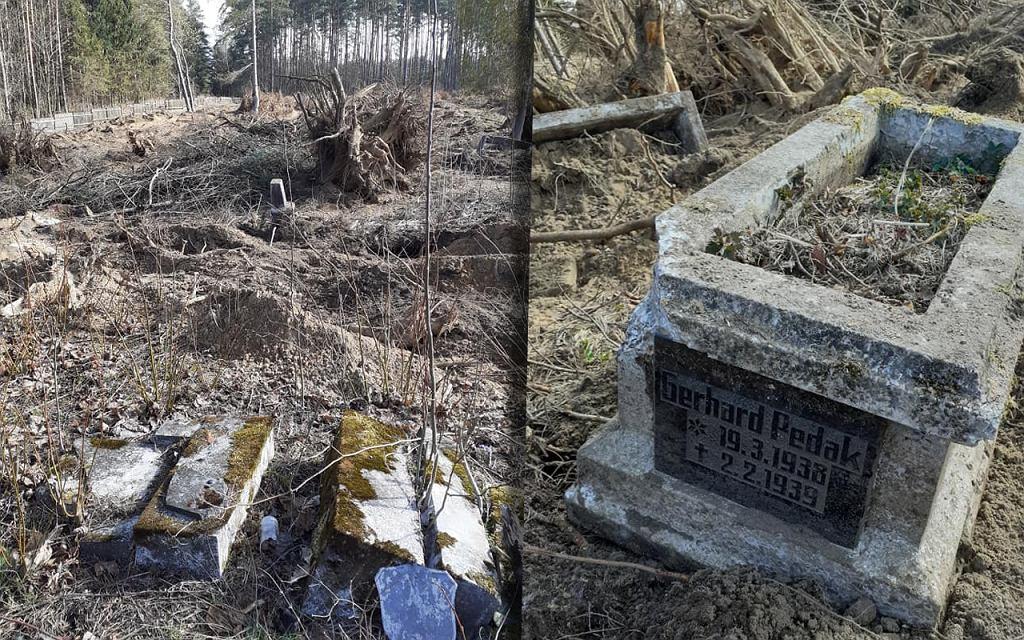 Zdewastowany cmentarz ewangelicki