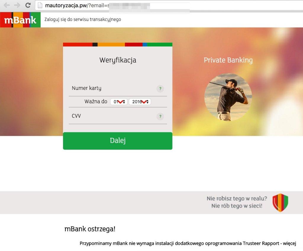 Uwaga na fałszywą stronę mBanku