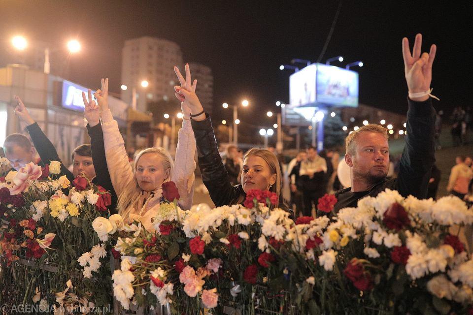 13.08.2020 Mińsk , Białoruś . Piaty dzień protestów po sfałszowanych wyborach prezydenckich na Białorusi .