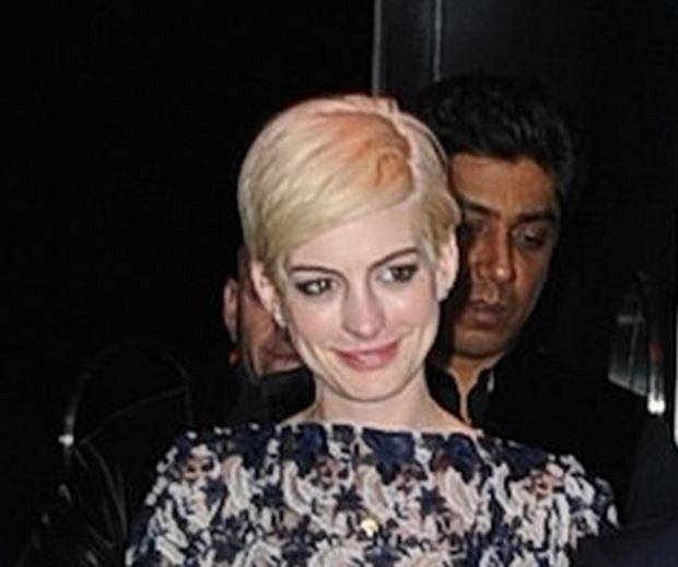 Anne Hathaway and Adam Shulman coming out of the MET Gala after party in NYC.  Pictured: Anne Hathaway and Adam Shulman