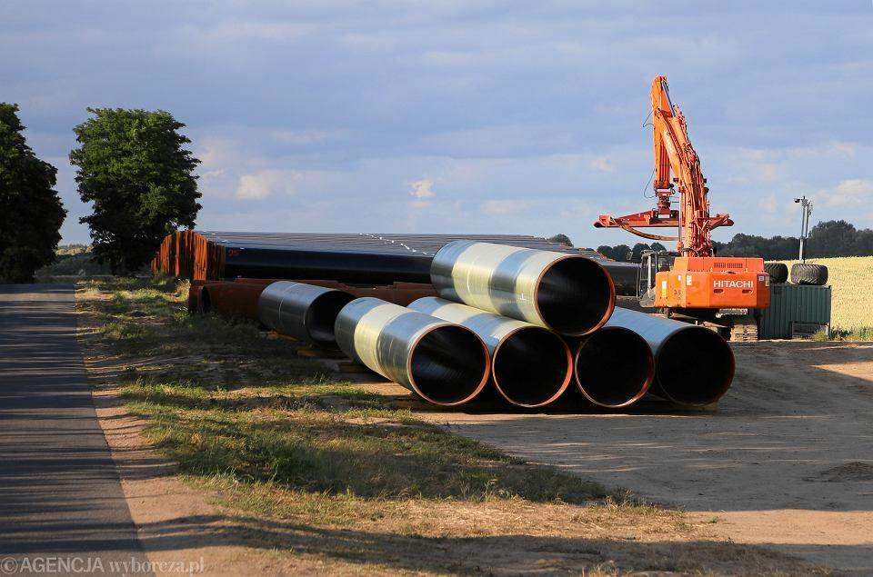 Budowa gazociagu EUGAL - lądowego przedłużenia gazociagu Nord Stream 2. Niemcy, okolice miejscowości Pasewalk, 27 czerwca 2019