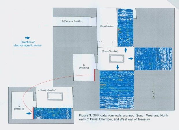 Domniemane położenie tajemniczych komór w grobie Tutanchamona. Niebieskie prostokąty do dane pochodzące ze skanowania georadarem.