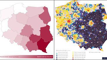 """Ta mapa pokazuje inny obraz wyborów. """"Polska na pół? Zabory? Rzeczywistość nie jest tak prosta"""""""