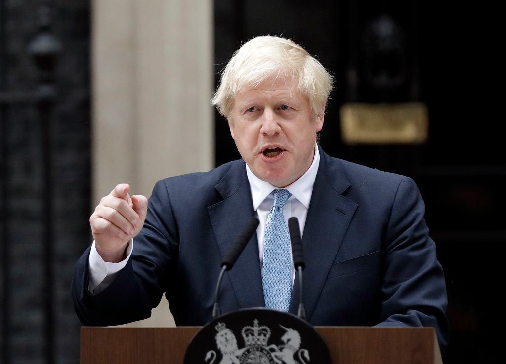 Premier Boris Johnson podczas przemówienia dotyczącego próby zablokowania 'bezumownego brexitu'
