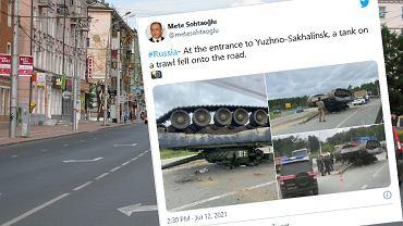 """Rosja. Żołnierze """"zgubili"""" czołg na ulicy. Zdjęcia szybko obiegły internet"""