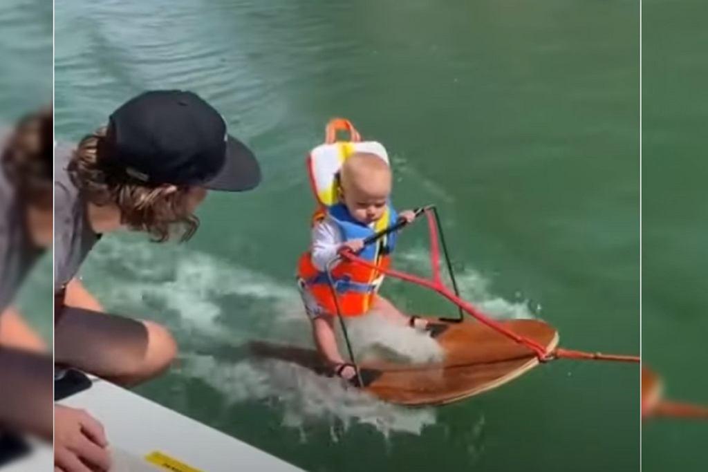 Sześciomiesięczne dziecko na nartach wodnych