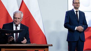 Podpisanie umowy koalicyjnej liderów Zjednoczonej Prawicy, 26 września 2020.