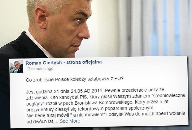 Usunięty wpis Romana Giertycha na Facebooku