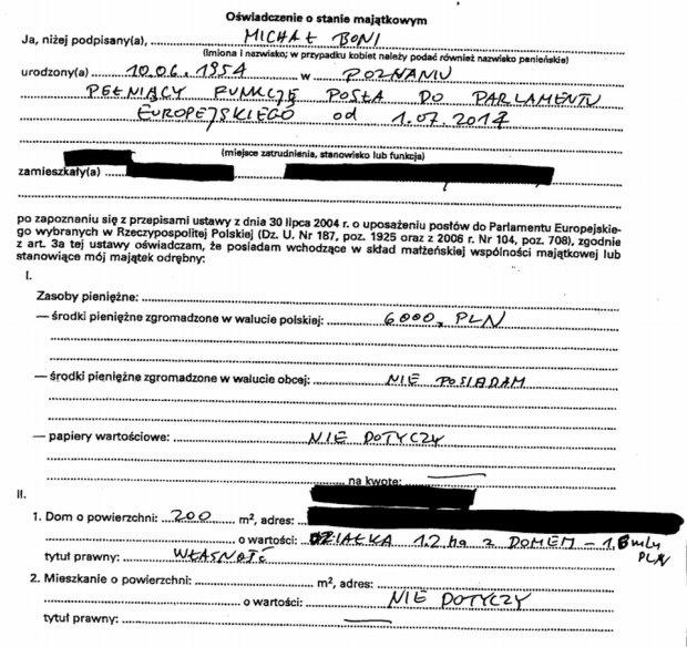 Oświadczenie majątkowe Michała Boniego