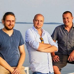 Port Sztynort . Od lewej Marek Makowski , Marcin Trybus , Kamil Stankiewicz