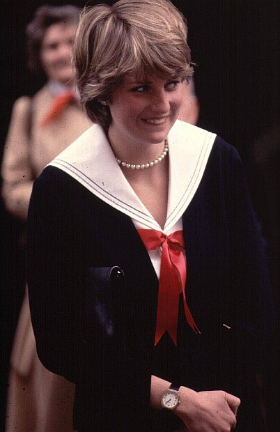 27th March 1981:  A smiling Lady Diana Spencer (1961 - 1997 ), during a visit to Cheltenham Police HQ in Gloucestershire, England.  (Photo by Central Press/Getty Images)