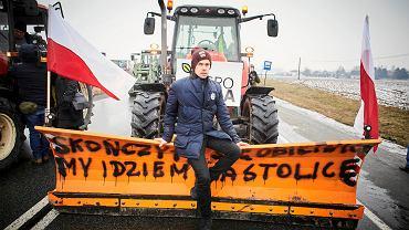 28.01.2019. Protest rolników w Łódzkiem. Michał Kołodziejczak z Błaszek w województwie łódzkim jest liderem ogólnopolskiego protestu rolników