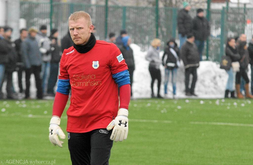 Piotr Skiba podczas sparingu z Olimpią Grudziądz