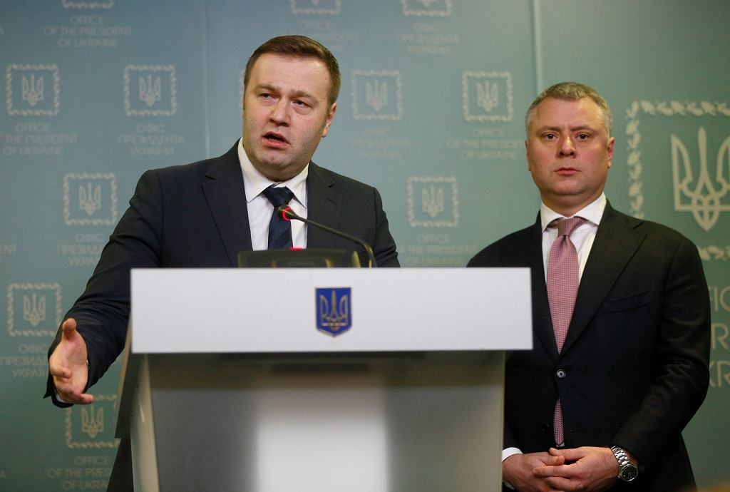 Szef ukraińskiego ministerstwa energetyki Ołeksij Orżel (po lewej) i szef Naftohazu Jurij Witrenko