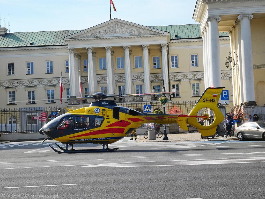 Na placu Bankowym lądował śmigłowiec LPR
