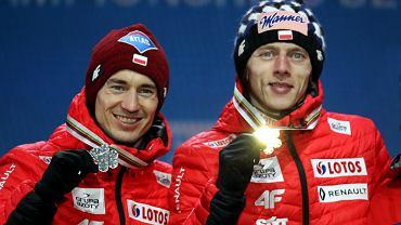 Kamil Stoch i Dawid Kubacki podczas mistrzostw świata w Seefeld 2019