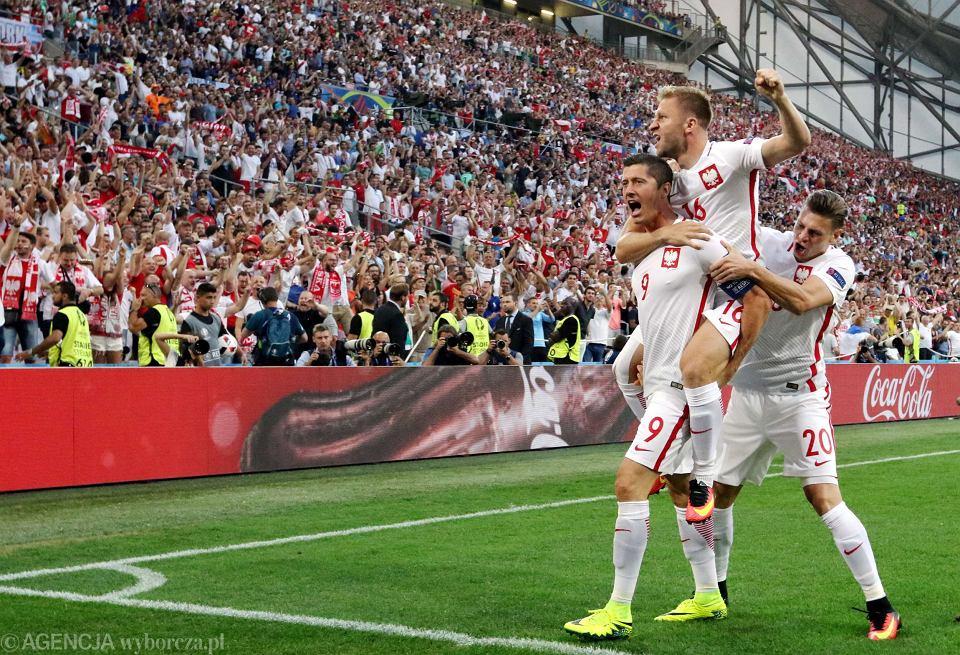 Polska - Portugalia.  ROBERT LEWANDOWSKI Z KILKU METRÓW STRZELA SWOJĄ PIERWSZĄ BRAMKĘ NA EURO