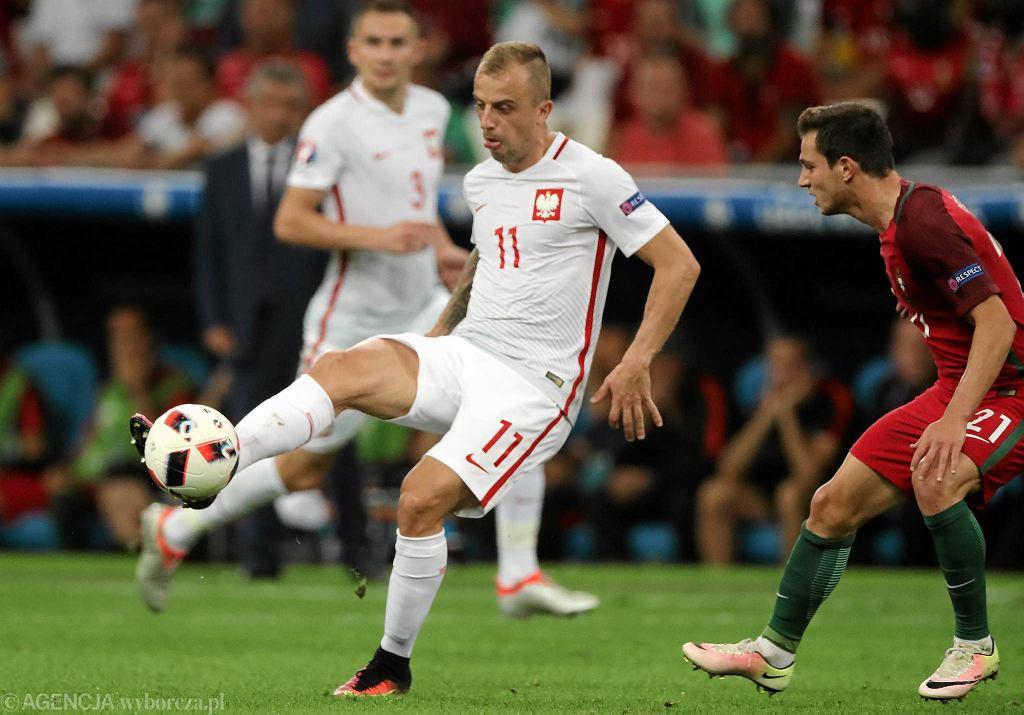 Kamil Grosicki podczas meczu 1/4 finału Euro 2016 : Polska - Portugalia