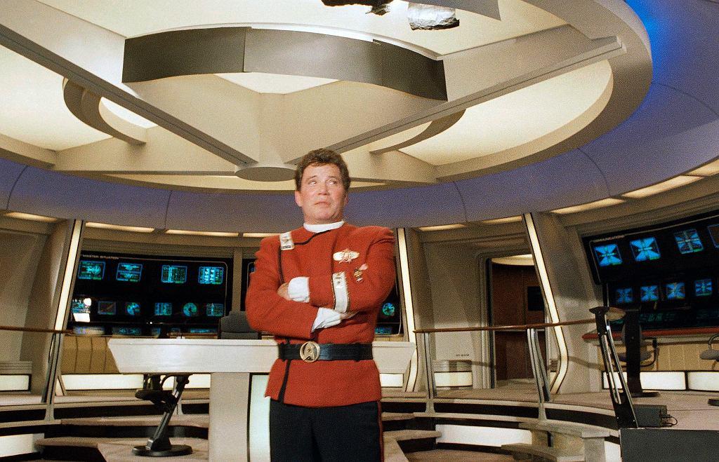 William Shatner w stroju Kapitana Jamesa T. Kirka do filmu 'Star Trek V', 1988 r.