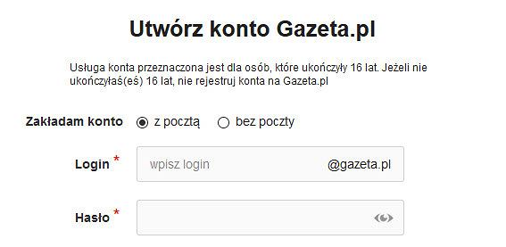 Zakładanie konta - Utwórz konto Gazeta.pl