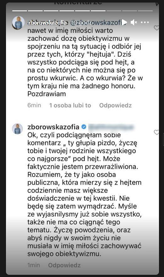 Screeny z profilu Zofii Zborowskiej na Instagramie