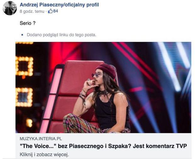 Andrzej Piaseczny komentuje decyzję TVP