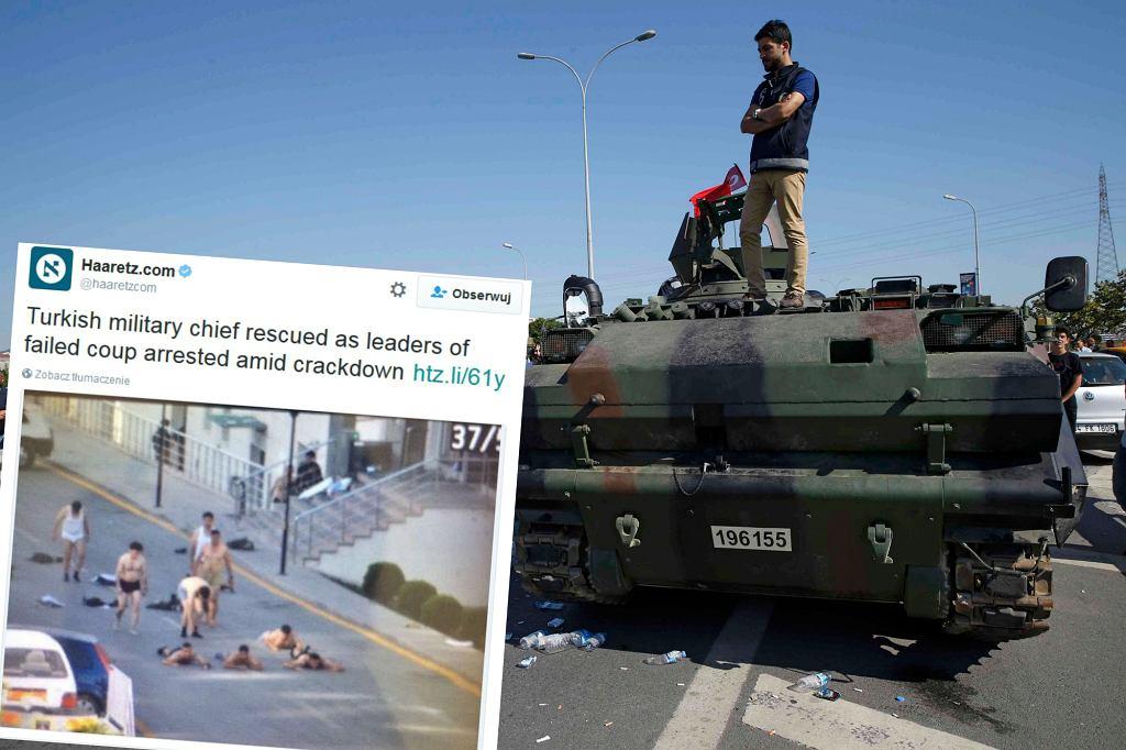 Poddający się puczyści, mężczyzna na wojskowym pojeździe
