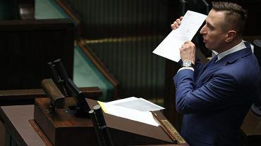 Poseł Platformy Obywatelskiej Krzysztof Brejza. Warszawa, Sejm, 12 kwietnia 2018