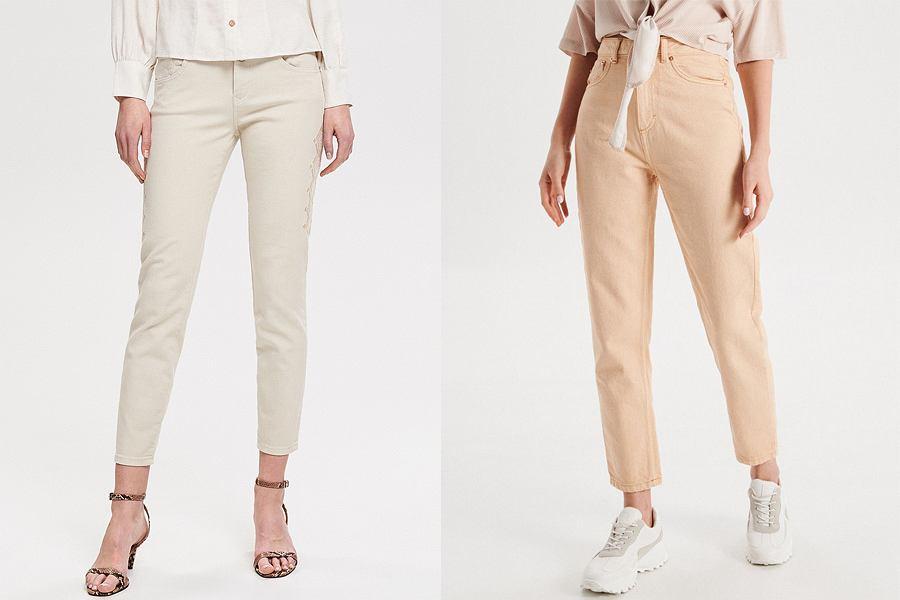 Beżowe spodnie jeansowe