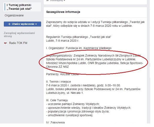 Screen ze strony wydarzenia: I Turniej piłkarski 'Twardzi jak stal' na Facebooku