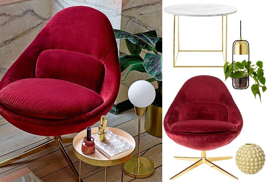 Bloomingville - fotel, stolik, lampa i wazon
