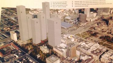 Wizualizacja centrum Warszawy zabudowanej wieżowcami