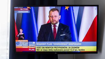 16.04.2020, Warszawa, konferencja prasowa ministra zdrowia Łukasza Szumowskiego.