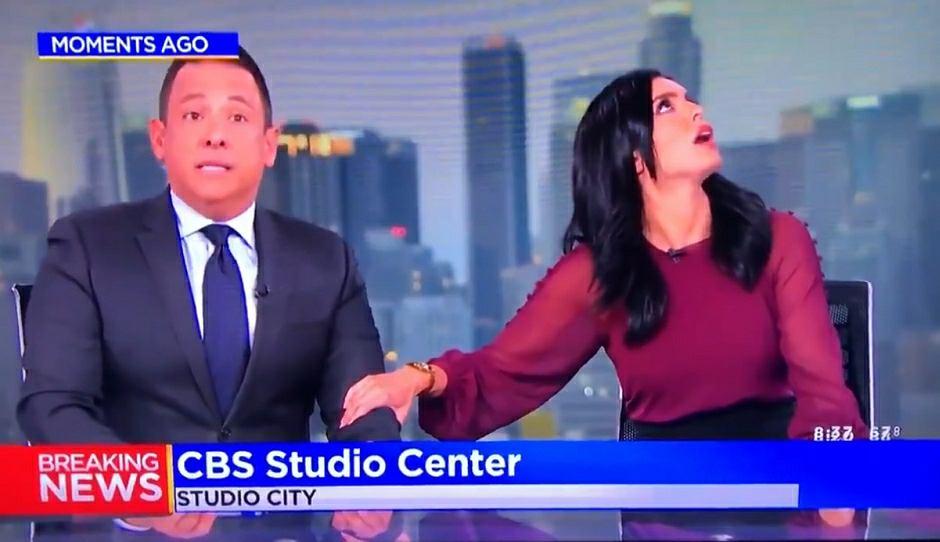 Trzęsienie ziemi zaskoczyło i przeraziło dziennikarzy w studiu CBS w Los Angeles