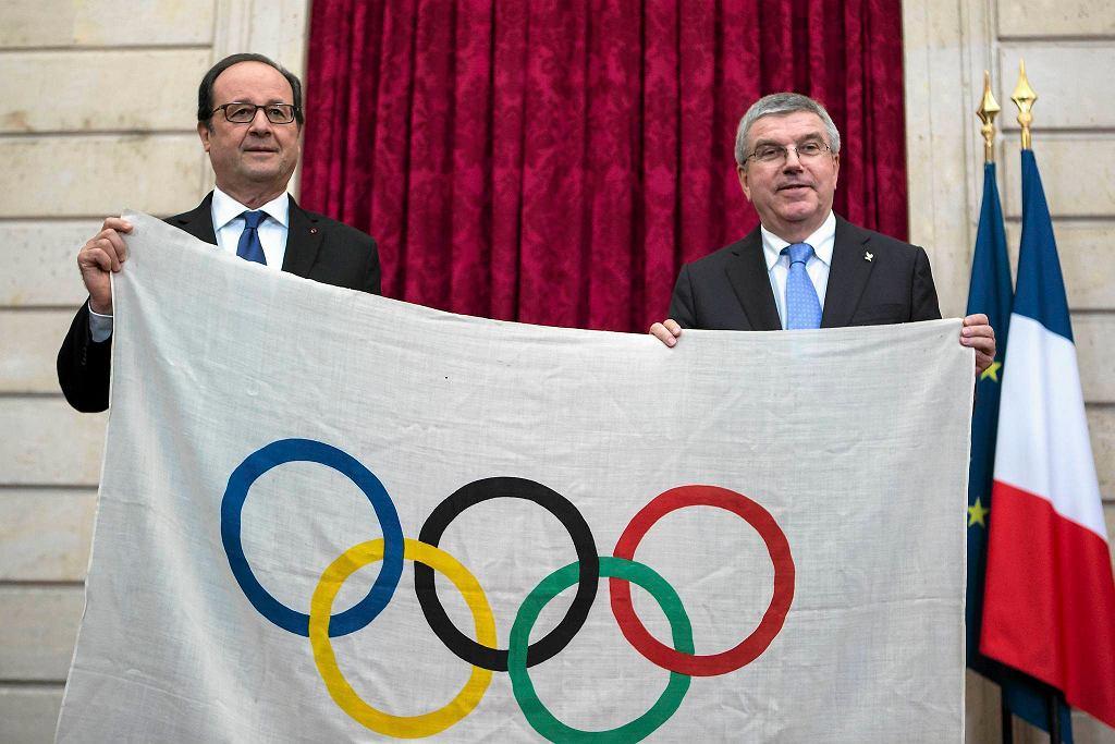 Prezydent Francji Francois Hollande i Thomas Bach